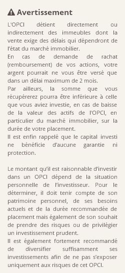 Recommandations acquisition d'OPCI OPCI OPCIMMO