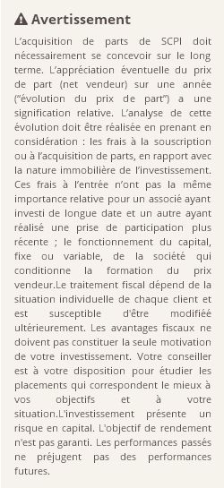 Recommandations acquisition de parts SCPI Scpi PARTICIPATION FONCIERE 1