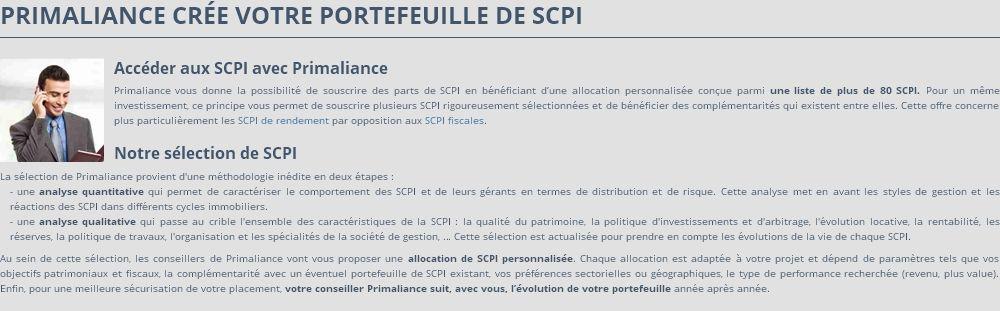 Création de portefeuille SCPI par Primaliance